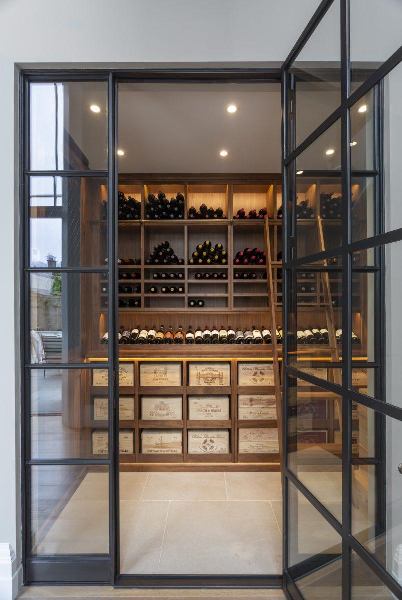Walnut Shelved Wine Room